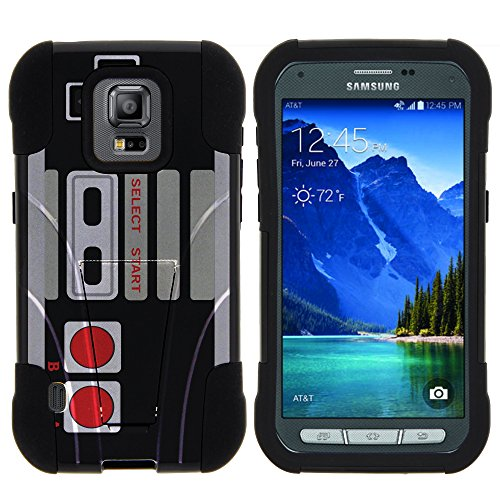 Samsung Galaxy S5 Active Stand Case, S5 Active Dual Shell, G870 Case [STRIKE IMPACT] Bumper Case Dual Fusion Action Silicone Hard Kickstand Shell by Miniturtle - Retro Controller