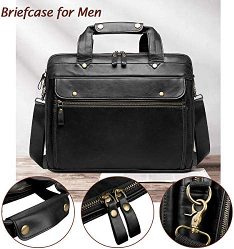 Leather Briefcase for Men Laptop Bag 15.6 Inch Large Waterproof Retro Business Travel Messenger Bag,Perfect Gifts For Husband/Christmas Gifts for Men (Black)