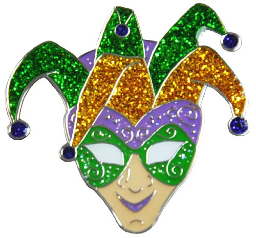 Navika Glitzy Mardi Gras Jester Ball Marker with Magnetic Hat Clip