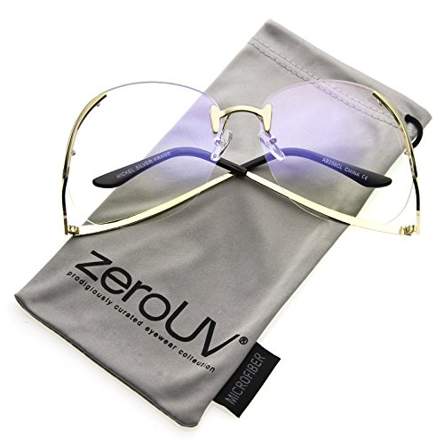 zeroUV - Women's Rimless Curved Metal Arms Round Clear Lens Oversize Eyeglasses 67mm (Gold / - Sunglasses Warby