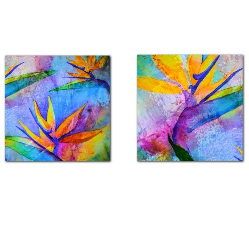 (Ready2HangArt Tropical Birds of Paradise' 2 Piece Abstract Modern Contemporary Canvas Wall Art Print, Panel: 16