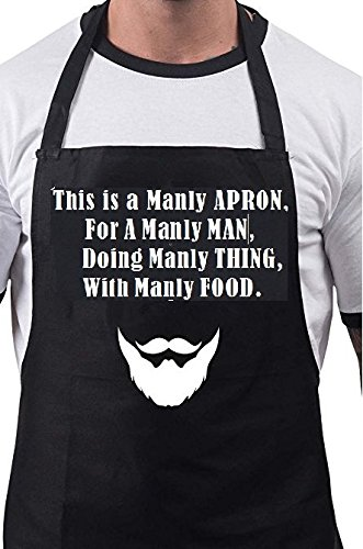 Firecos Funny Aprons for Men Cooking Aprons for Chief Good Gift Kitchen With This Is a Manly Apron Print