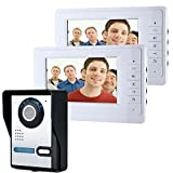 HITSAN ENNIOSY819FA12 7 inch Video Door Phone Doorbell Intercom Kit with Night Vision Camera and 2 Monitors One Piece