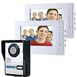 HITSAN ENNIOSY819FA12 7 inch Video Door Phone Doorbell Intercom Kit with Night Vision Camera and 2 Monitors One Piece
