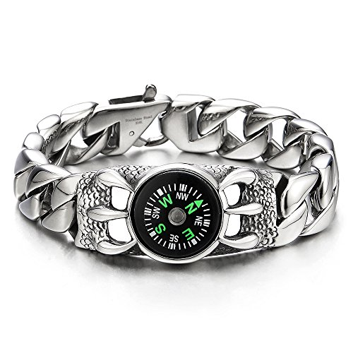 Acrylic Link Bracelet - COOLSTEELANDBEYOND Vintage Dragon Eagle Claws and Compass, Mens Stainless Steel Curb Chain Link Bracelet