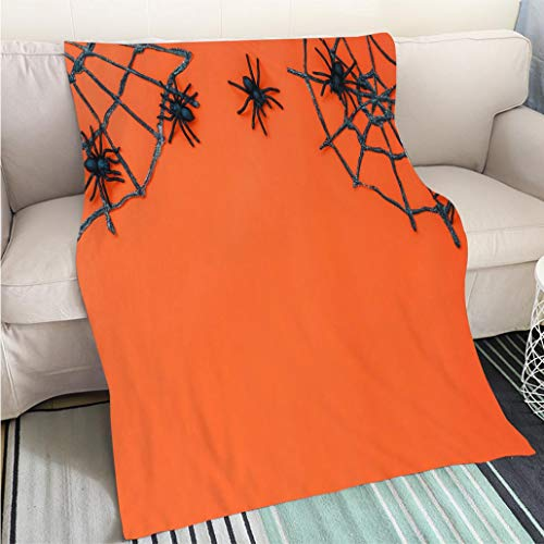 Art Design Photos Cool quilt Overhead of sign Happy Halloween festival background conceptTop of essential object on the modern rustic orange table wood with home Living Room/Bedroom Warm Blanket]()