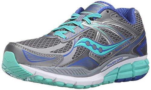 Saucony Women's Echelon 5 Running Shoe, Grey/Mint/Blue, 7.5 M US