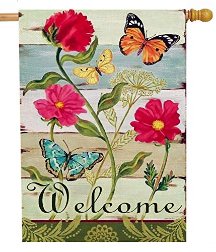 Furiaz Summer Flower Zinnia 28 x 40 House Flag Welcome Quote Butterfly Double Sided, Home Vintage Floral Burlap Garden Yard Decoration, Rustic Spring Seasonal Outdoor Décor Decorative Large Flag