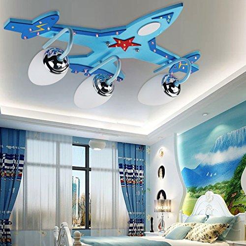 (Eye protection Children's Ceiling light Blue Wooden children's room ceiling lamp,Boy LED Eye airplane light,Cartoon study bedroom lamp Ceiling Lamp A+)