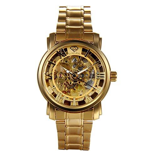 Watch Transparent Gold (Lancardo Men's Gold-tone Skeleton Automatic Mechanical Watch with Transparent Back)