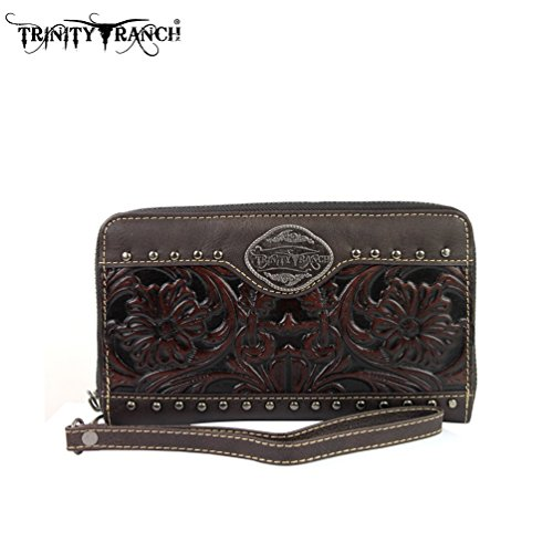 TR15-W003 Montana West Trinity Ranch Tooled Design Wallet-Coffee