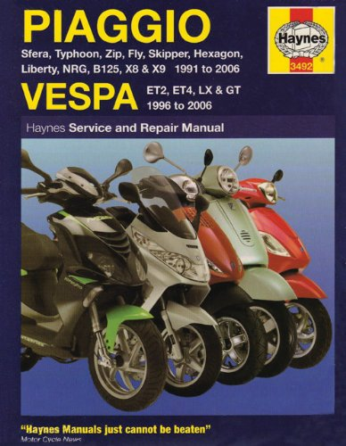 Haynes Piaggio and Vespa Scooter Manual 3492