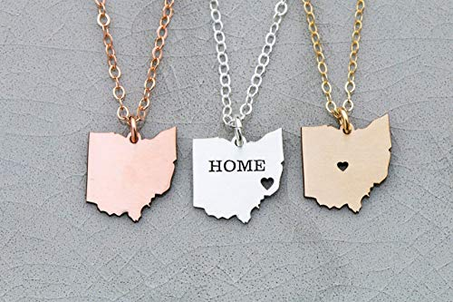 Ohio State Necklace - IBD - Personalize Name Coordinates - Pendant Size Options - Fast 1 Day Production - 935 Sterling Silver 14K Rose Gold Filled Charm