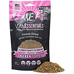 Vital Essentials Freeze-Dried Chicken Toppers Grain Free Limited Ingredient for Dogs or Cats, 6 Ounce Bag