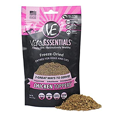 Vital Essentials Freeze Dried Chicken Topper - Meal Mixer for Dogs Or Cats - 100% USA All Natural - All Breeds - Grain Free - Picky Eater Approved - Sprinkle on Kibble or Add Water for Gravy 6 oz