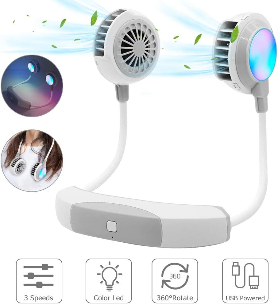 Portable Fan Mini USB Fan Hand Free Personal Fan Hanging Neck Sport Fan Wearable USB Desktop Fan, 3 Speeds, 360 Degree Adjustment, Protect hair,Suitable for Man Woman Child With LED light (WHITE)