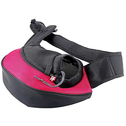 Eyiou Portable Travel Pet Carrier, Soft Sided Tote Carrier for Small Pets, Dog Handbag Dog Purse for Outdoor Travel Walking Hiking (L, Rose Red)