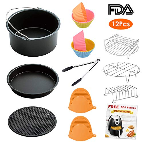 LATTCURE Air Fryer Accessories, 7 Inch for 3.7 qt Air Fryer,12 pieces for Gowise Phillips and Cozyna Air Fryer, Fit 3.7 qt and larger size