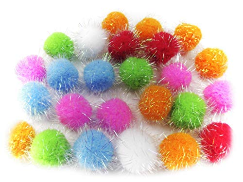 ALL in ONE Assorted Color Glitter Sparkle Pom Poms for Craft DIY (15MM)