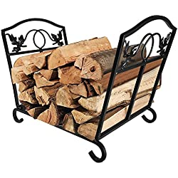 Fireplace Log Holder Wrought Iron Indoor Fire Wood Stove Stacking Rack Logs Bin Firewood Storage Carrier for Outdoor Fireplace Pit Decorative Wood Holders Fire Place Tools Accessories Black Amagabeli
