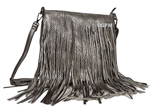 Sides Soft Grey Size bag GFM Fringes on Shoulder Small Tassels Bag Smlchbh 1 Both Style Faux Leather Tassel With Silver wqvUFX