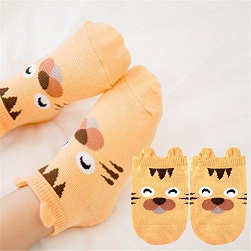 samber algodón dibujos animados tridimensionales animal Party Impresión Niños Calcetines Calcetines de bebé Anti–Skid Calcetines rosa rosa Talla:S naranja