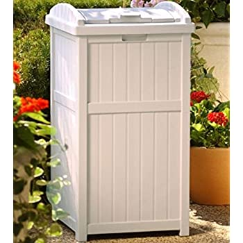 Amazon Com Suncast 33 Gallon Outdoor Trash Can For Patio