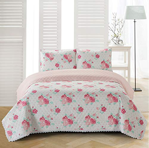 Sleeping Partners Chloe Crochet Trimmed Floral 3 Piece, Full/Queen, Pink Quilt-Set,