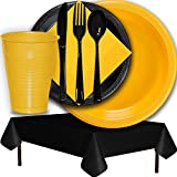 Plastic Party Supplies for 50 Guests - Yellow and Black - Dinner Plates, Dessert Plates, Cups, Lunch Napkins, Cutlery, and Tablecloths - Premium Quality Tableware Set