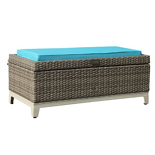 Orange Casual Rattan Wicker Deck Storage Box | Small Outdoor Storage Bench with Seat Cushion, Aluminum Frame, Gary Rattan and Blue Cushion