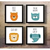 SAF Motivational Quotes Digital Reprint Painting, 19 x 19-Inch - Set of 4