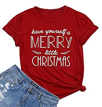 Have Yourself a Merry Little Christmas T Shirt Tees Women Short Sleeve O Neck Tees Tops - Red - Small