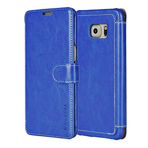 Mulbess Samsung Galaxy S6 Edge Plus Leather Case - Wallet Case PU - Ultra Slim - Card Slot - Leather Flip Case for Samsung Galaxy S6 Edge+ - Blue