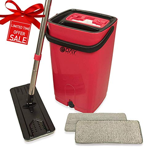 - Microfiber Flat Mop and Bucket Kit with Wringer, Ergonomic Handle, Self-Cleaning System, Wet and Dry Mopping, 2 Reusable Ecofriendly Pads, Floor Cleaning
