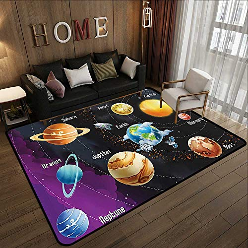 Kitchen Rugs Non Skid,Outer Space Decor,Solar System of Planets Milk Way Neptune Venus Mercury Sphere Horizontal Illustration,Multi 55
