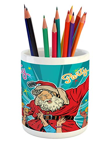 Ambesonne Santa Pencil Pen Holder, Rock n Roll Singing Santa with Dancing People at Christmas Party Retro Pop Art Style, Printed Ceramic Pencil Pen Holder for Desk Office Accessory, Multicolor