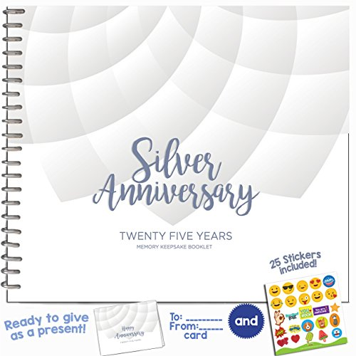25TH WEDDING ANNIVERSARY GIFTS FOR COUPLES – Twenty Five Years Memory Journal for Husband or Wife | Unique Silver Anniversary Booklet with love quotes and frames to add your pictures for him or her