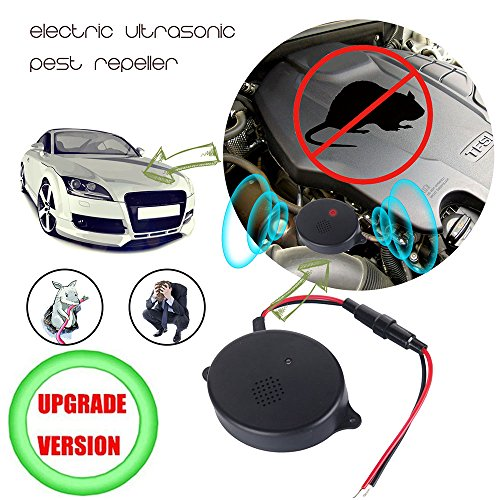 funfunfly [Upgrade Version] Ultrasonic Rodent UnderHood Animal Repeller Pest Deterrent Devices to Chase Mice Rat Mole for Car Truck Motobike (Vehicle Shelter)