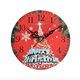 Tuscom DIY Cute Silent Sweep Christmas Creative Digital Clock Decoration Clock for Living Room Bedroom Home Decoration (6 Style) (A)
