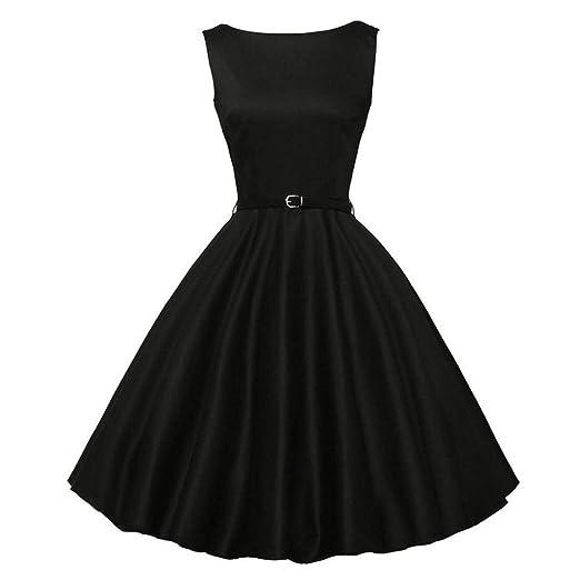 VJGOAL Las Mujeres Elegantes Vintage impresión Estilo Hepburn sin Mangas Ajuste Delgado cinturón Ajustable Partido de la Tarde Vestido péndulo Grande: ...