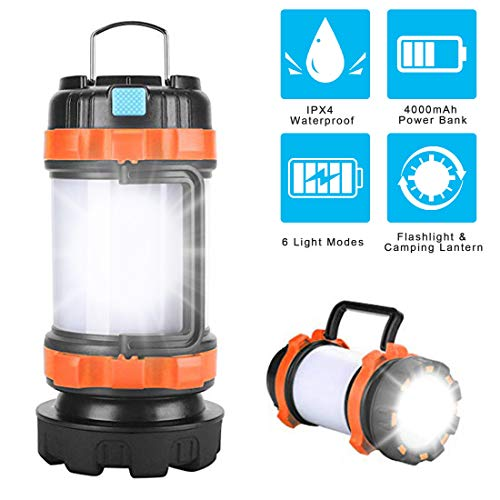 POLENTAT Rechargeable LED Camping Lantern Flashlight with 6 Lighting Modes, 4000mAh Power Bank, IPX4 Waterproof, Portable Light for Hurricane Emergency Hiking Home and More