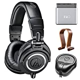 Audio-Technica Professional Studio Headphones-Black (ATH-M50x) w/ Amplifier Bundle Includes, FiiO A1 Portable Headphone Amplifier, Slappa HardBody Headphone Case And Universal Wood Headphone Stand Review