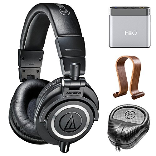 audio-technica-professional-studio-headphones-black-ath-m50x-w-amplifier-bundle-includes-fiio-a1-por