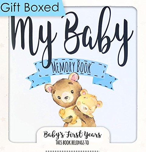 Baby Memory Book for Boys, Baby Journal, 3 Color Options, Baby Record Book 0-3 Years, Best New Baby Boy Gift or Baby Shower Gift, 54 Pages, Keepsake Envelope, with Gift Box by Ocean Drop Designs from Ocean Drop Designs