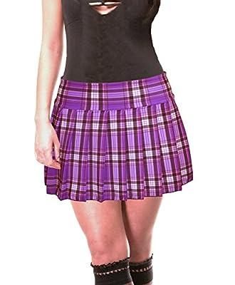 SenecaClothing Purple Stretch Lycra Schoolgirl Tartan Plaid Pleated Mini Skirt Stretch Purple