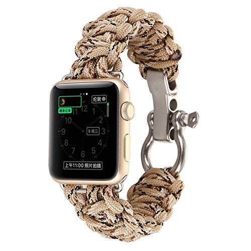 Apple Watch Band, Men's Sports Paracord Cord Woven Nylon Survival Rope Watch Band for Apple Watch Series 3/ Series 2/ Series 1 - 9.2 Inch (Desert Camo, For (Rope Apple)