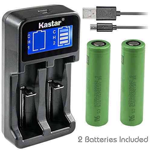 Kastar Intelligent LCD USB Charger & Battery (2 Pack), US18650VTC5 VTC5 High Drain (30A) Sony 3.6V 2600mAh Flat Top for Electric Tools, Toys, LED Flashlights and Torch ect.