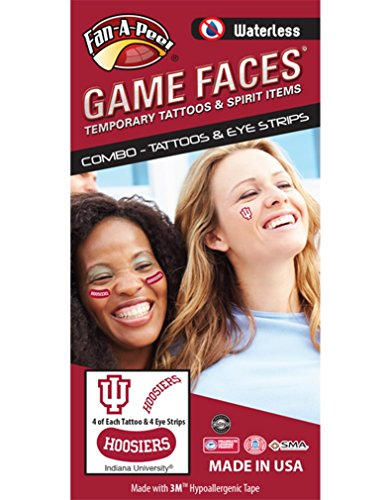 Indiana University (IU) Hoosiers - Waterless Peel & Stick Temporary Tattoos - 12-Piece Combo - 4 White/Crimson IU Logo & 4 Crimson Hoosiers Spirit Tattoos & 4 White Hoosiers on Crimson Eye Strips]()