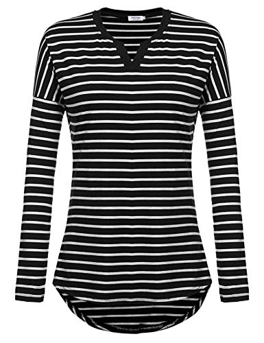 - POGTMM Women's Casual Raglan Long Sleeve Henley V Neck Patchwork Striped Shirts Loose T-Shirt Tunic Tops (Black, US XL(16-18))