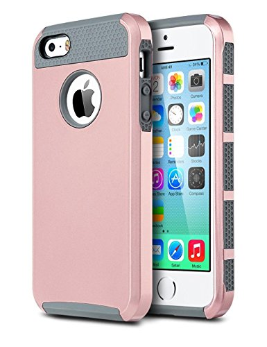 ULAK iPhone SE Case, iPhone 5S Case, iPhone 5 Case,Slim Fit Dual Layer Protection Case Shock Absorbing Hard Rugged Ultra Protective Back Rubber Cover with Impact Protection (Rose Gold + Grey) (Iphone 5s Not Turning On Black Screen)